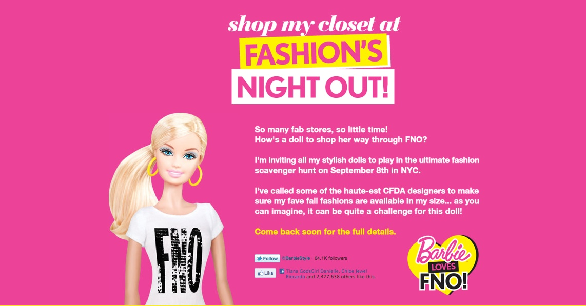 barbie, fashion's night out scavenger hunt
