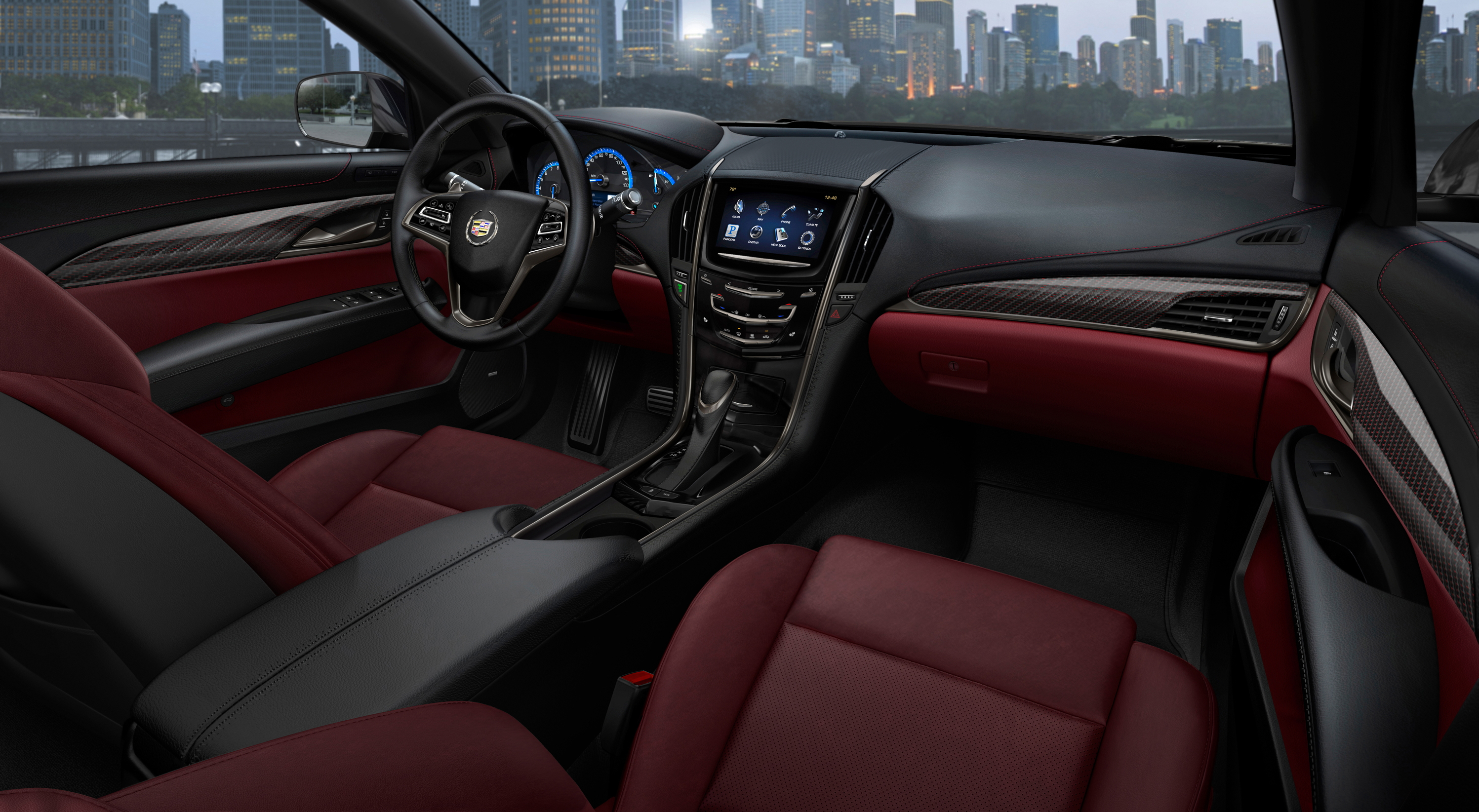 The 2013 Cadillac ATS compact luxury sedan features a driver-focused interior with thoughtfully crafted materials and the intuitively integrated CUE technology, a comprehensive in-vehicle experience that merges intuitive design with auto industry-first controls and commands for information and entertainment data. There are also seven interior color and trim combinations, complementing the dynamic exterior design elements and supporting the ATSâ?? fun-to-drive attitude.