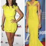 Wear is short or long: Lala rocks the bright color in a short capsleeve dress while Taraji P. Henson wears this bombshell color a full length gown...