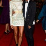 Joan Smalls and Olivier Rousteing in Balmain
