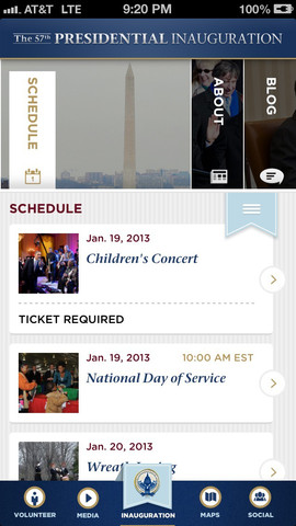 Inaug App schedule