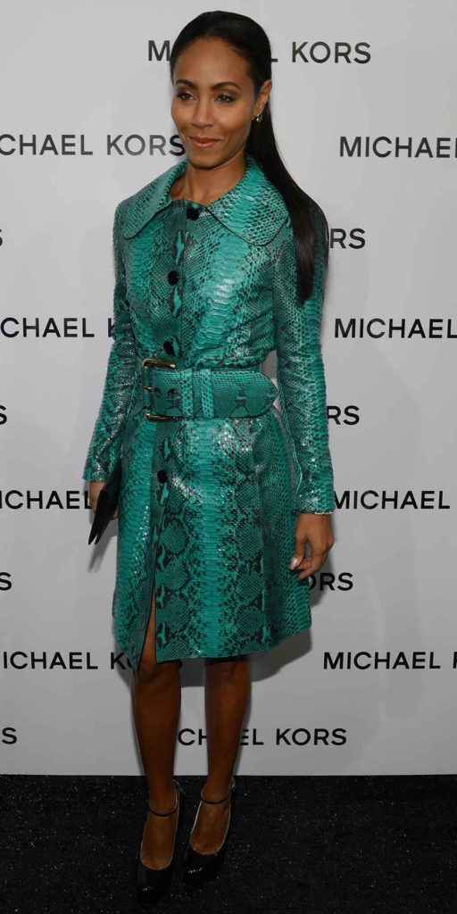 Jada Pinket Smith in Emerald reefer coat with belt from the Michael Kors Resort 2013 collection