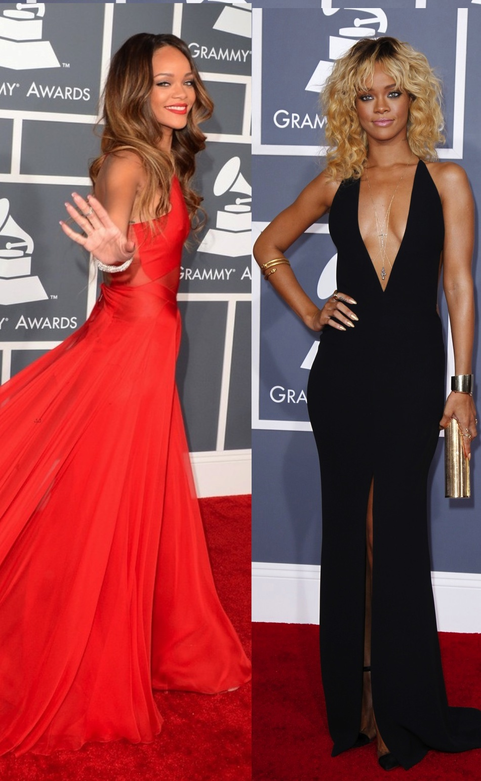 Rihanna Then Now #Grammys dress