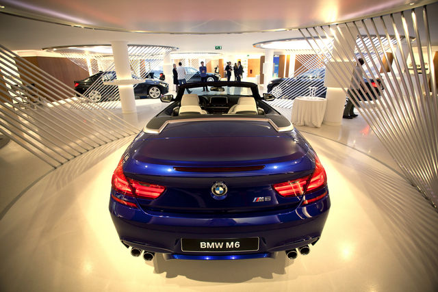 A BMW M6 convertible on display inside the company's new store in Paris. Photo: Bloomberg.com