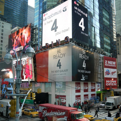 LG Optimus Billboard over Samsung Galaxy Launch Billboard - Times Square