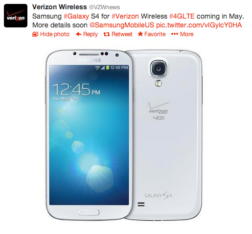 Verizon Wireless - Samsung Galaxy S4 Release - Divas and Dorks - Tweet Image