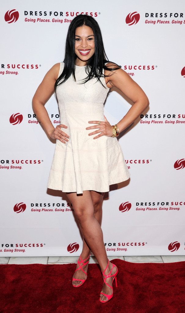 jordin-sparks-dress-for-success-event-new-york-city-bebe-lace-fit-and-flare-dress-jimmy-choo-lang-patent-sandals-2