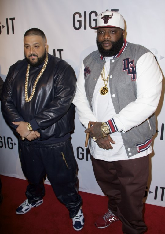 Co-host DJ Khaled and Rick Ross arrives for the celebration of Gig IT