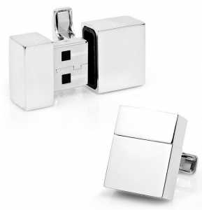 Father's Day Gift Guide - Divas and Dorks - Silver USB Ports Cuff links
