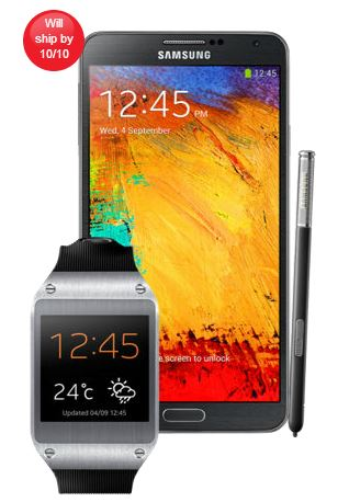 Samsung Galaxy Note 3 and Samsung Galaxy Gear Watch Smartwatch Order From Verizon VZW