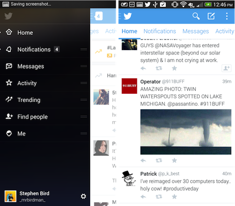 Twitter 5.0 Beta for Android Screen Menu 1