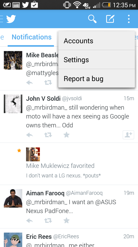 Twitter 5.0 Beta for Android Screen - Report