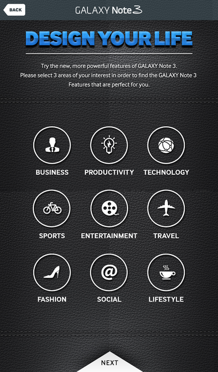 Samsung Galaxy Note 3 Experience App - design your life