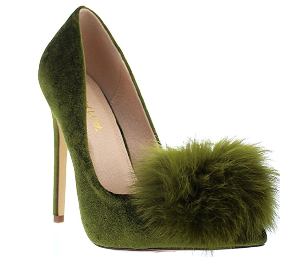 green pom pom pumps